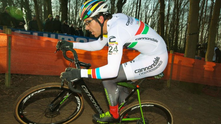 Pan American champion Curtis White had a strong ride to finish 10th. 2017 Hoggerheide UCI Cyclocross World Cup. U23 Men. © C. Jobb / Cyclocross Magazine