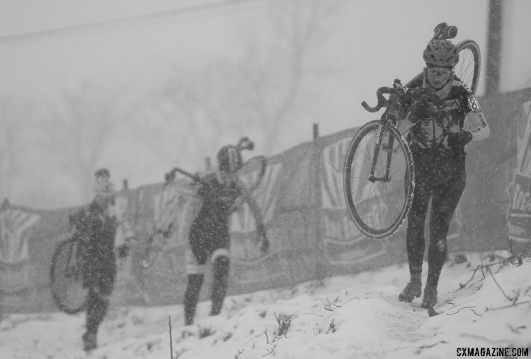 Snow was falling making visibility an issue. 2017 Cyclocross National Championships, Singlespeed Women. © A. Yee / Cyclocross Magazine