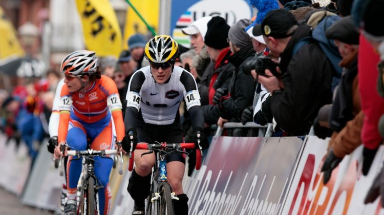 Still rivals nine years later: Katie Compton leading Marianne Vos at the 2008 Cyclocross World Championships in Treviso. © Joe Sales