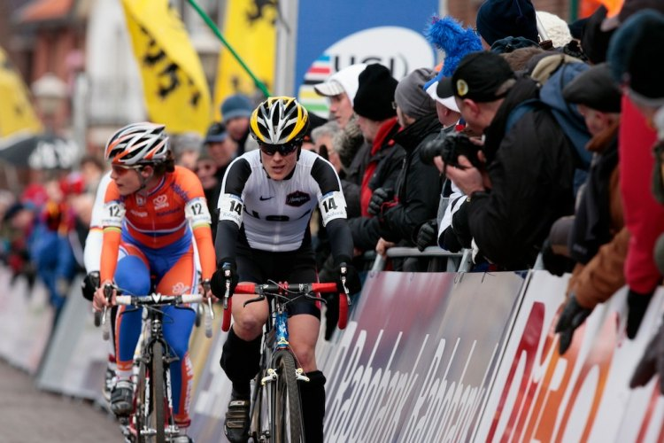 Still rivals nine years later: Katie Compton leading Marianne Vos at the 2009 Cyclocross World Championships in Hoogerheide. © Joe Sales