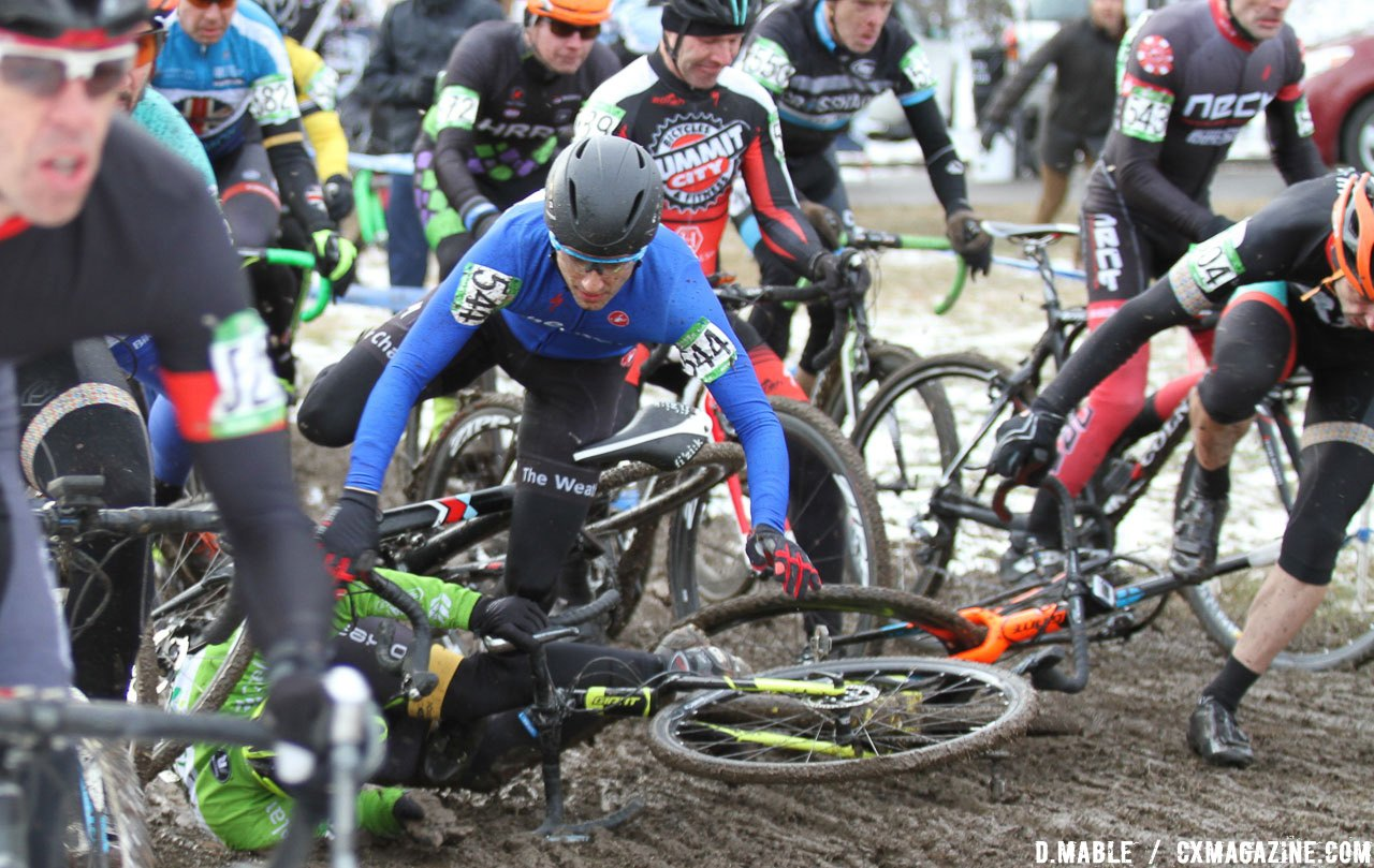 A crash at the start causes a pile up. 2017 Cyclocross National Championships, Masters Men 45-49. © D. Mable / Cyclocross Magazine