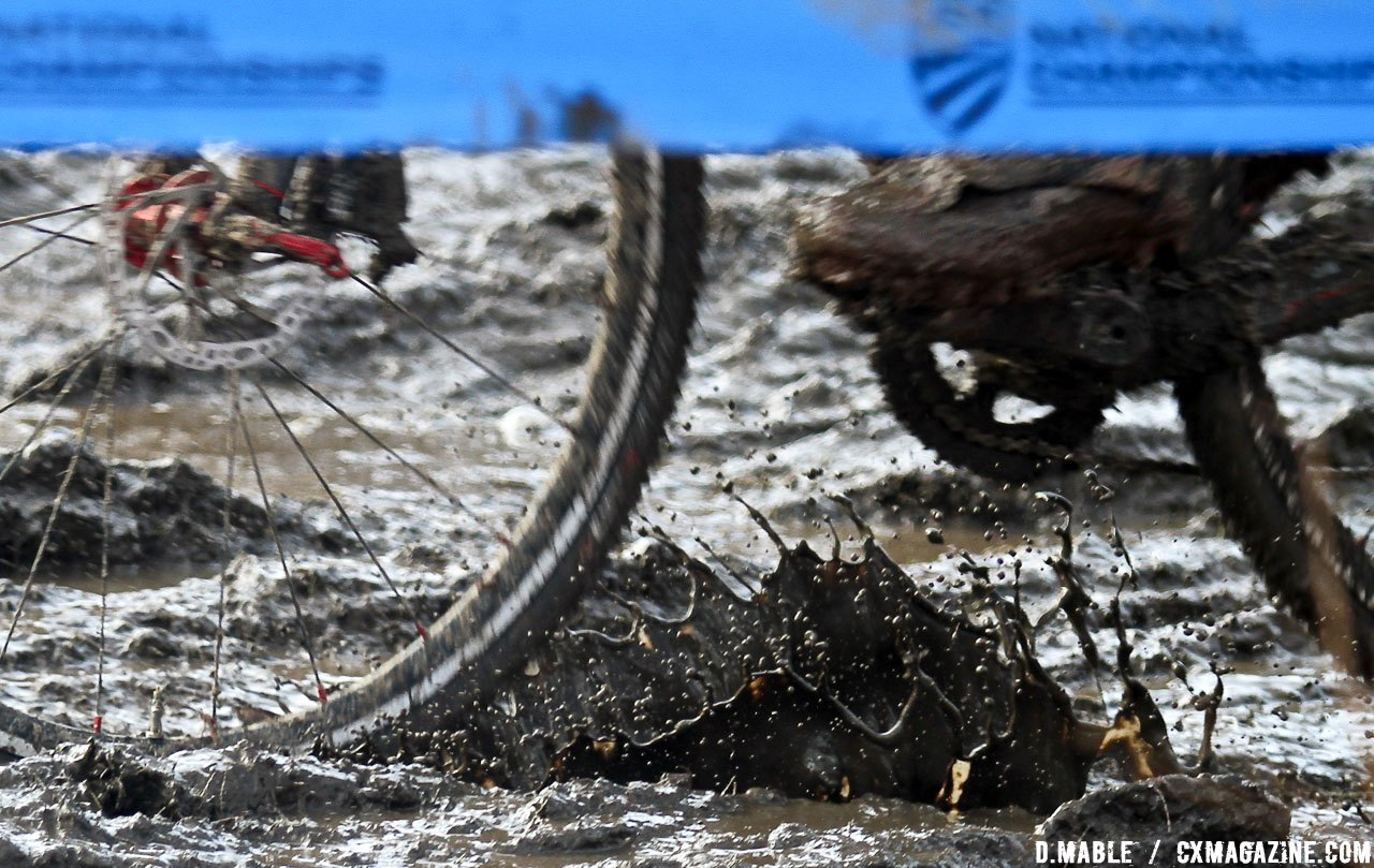 Changing conditions meant slick mud and icy ruts. 2017 Cyclocross National Championships, Masters Men 45-49. © D. Mable / Cyclocross Magazine
