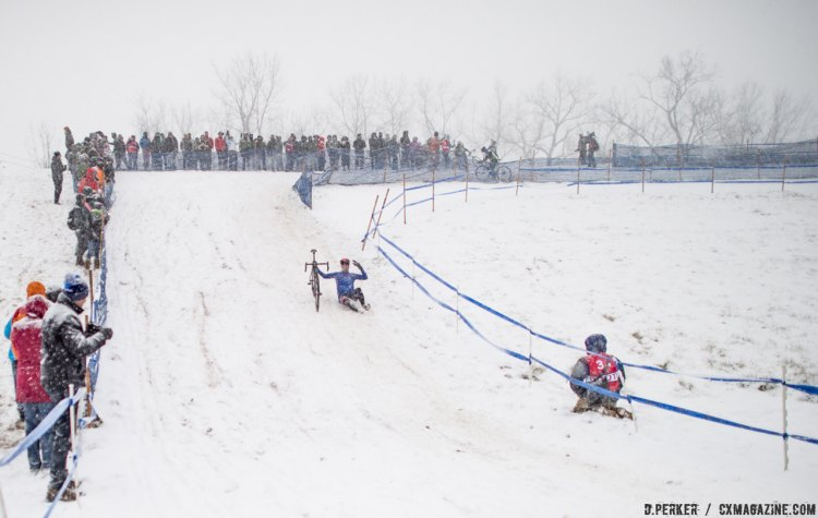 The butt slide was a popular technique - with the crowd. 2017 Cyclocross National Championships, © D. Perker / Cyclocross Magazine