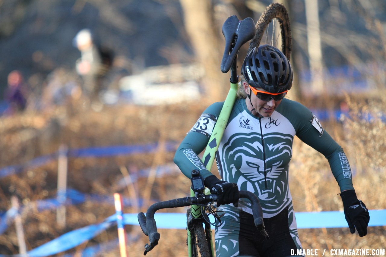 Eric Allar roars to a top 15 finish for Piedmont College. 2017 Cyclocross National Championships, Women's Collegiate Varsity Race. © D. Mable / Cyclocross Magazine