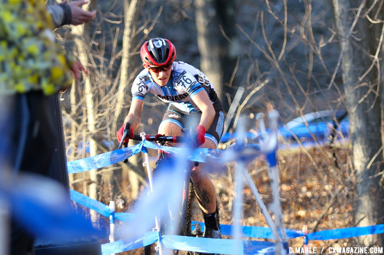 Hannah Arensman on her way to fourth behind her sister Allison. 2017 Cyclocross National Championships, Women's Collegiate Varsity Race. © D. Mable / Cyclocross Magazine