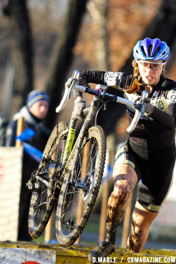 Hannah Finchamp leads at the barriers early in the race before her mechanical. 2017 Cyclocross National Championships, Women's Collegiate Varsity Race. © D. Mable / Cyclocross Magazine
