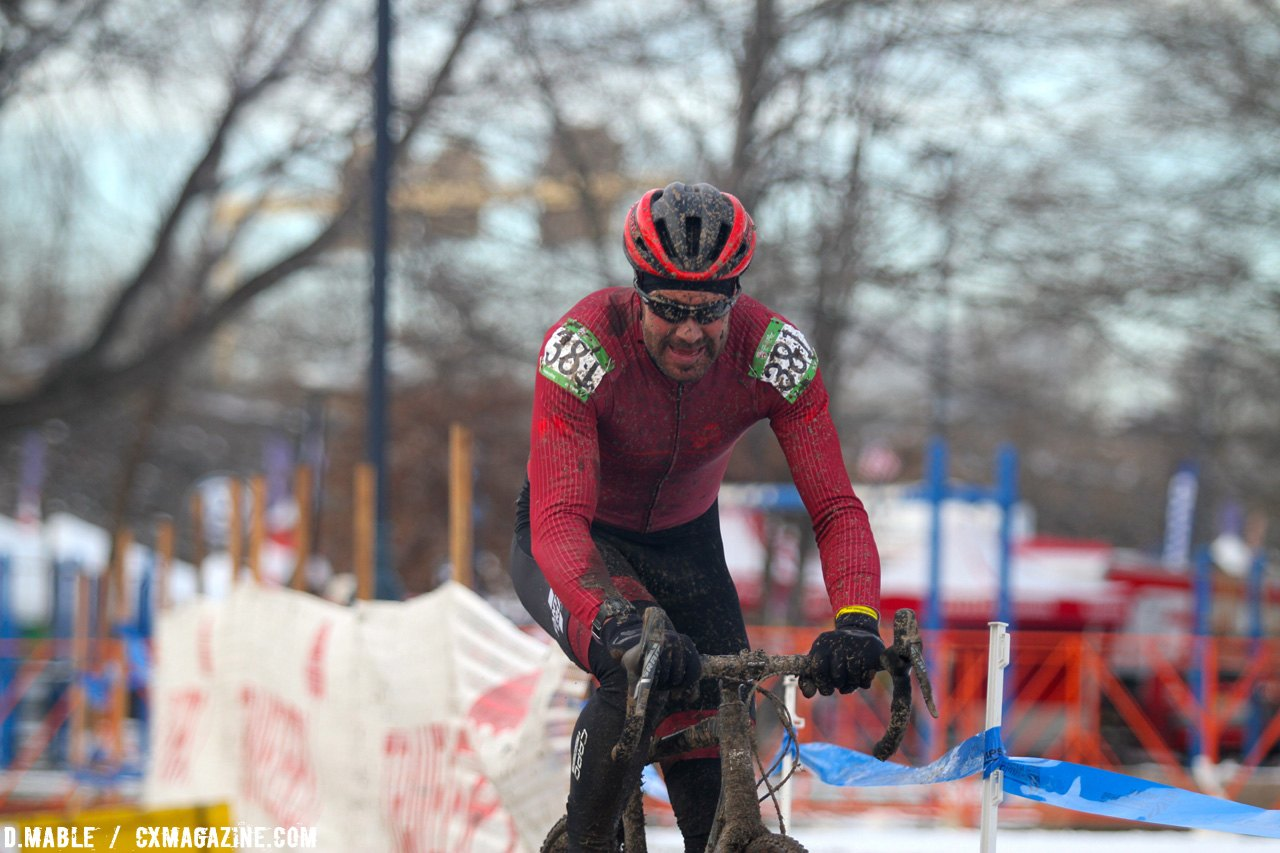 Justin Robinson would end the race in second. 2017 Cyclocross National Championships Masters Men 40-44. © D. Mable / Cyclocross Magazine