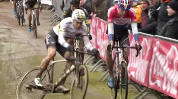 Wout van Aert got sideways, saved it, and then bounced off Mathieu van der Poel. Elite Men. 2017 Krawtencross, Lille. DVV Verzekeringen Trofee.