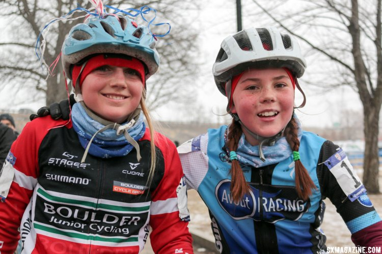 Haydn Hludzinski and Kaya Musgrave are good friends as well as competitors and show what true sportsmanship is all about. 2017 Cyclocross National Championships. © A. Yee / Cyclocross Magazine