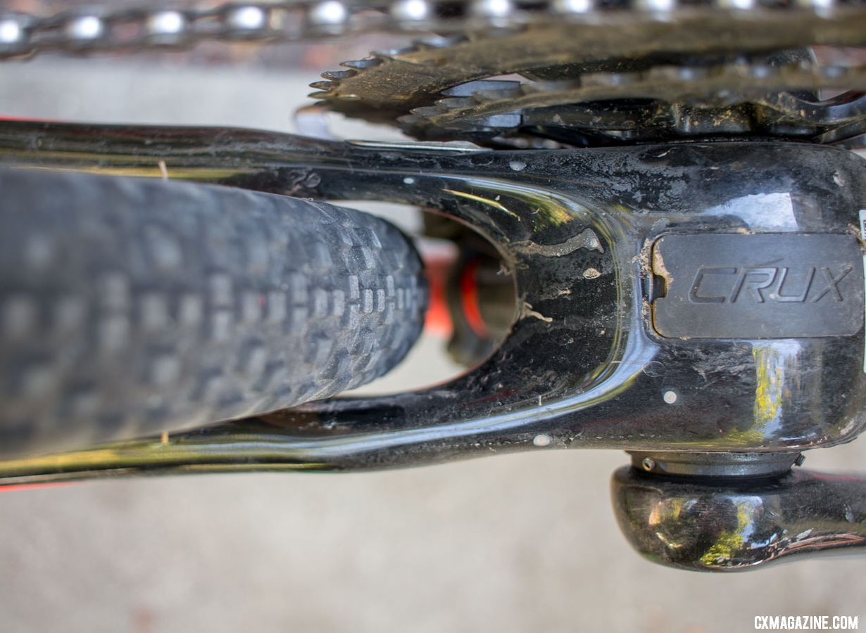 The Specialized Crux may not market itself as a gravel bike, but there's clearance for bigger tires. 44mm-wide tires barely fit, and 40mm tires fit with more room for an out-of-true wheel. © Cyclocross Magazine