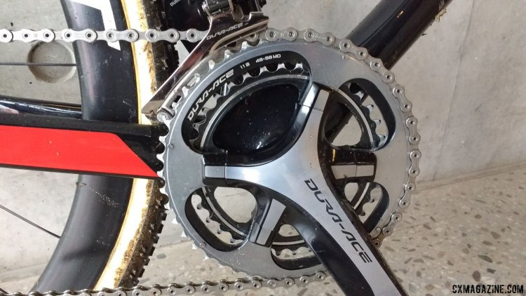 A winning ring combination: Joris cranked to victory using a 48-38 double, and an 11-28 cassette. 2017 Cyclocross World Championships bikes. © Cyclocross Magazine