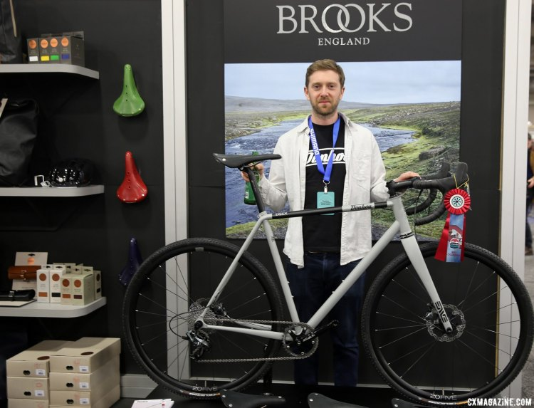 Tom Donhou shows us his award-winning DSSX. Donhou was prominently featured in the Brooks booth. NAHBS 2017. © C. Fegan-Kim Cyclocross Magazine
