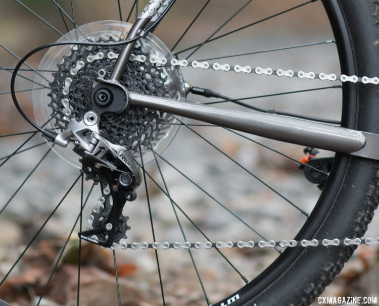 The Bombtrack Hook EXT cyclocross/gravel/adventure bike comes ready for any adventure, with a Rival 1 drivetrain. We'd opt for even lower gearing than the 11-36 cassette, but left the frisbee to protect against the derailleur-in-wheel-conditions found at the 2017 World Championships. © Cyclocross Magazine