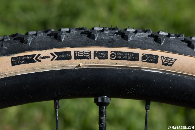 There's a lot of data to digest. Made by Vee Tire, 185 tpi, and suggested orientations based on road or trail, front or rear. Islabikes Gréim Pro tubeless cyclocross tire. © Cyclocross Magazine