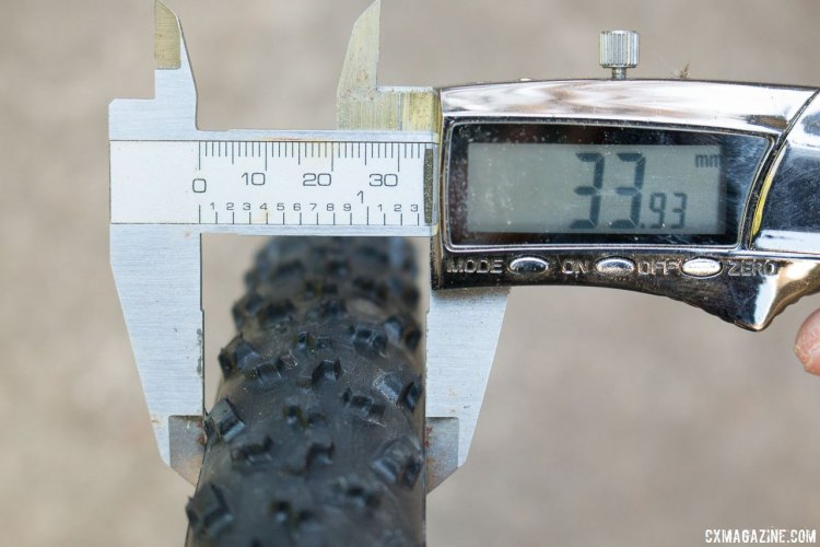 Islabikes Gréim Pro tubeless cyclocross tire measures just under 34mm wide, on a 22.6mm internal width rim. Narrower rims could help the tire meet the 33mm UCI maximum. © Cyclocross Magazine