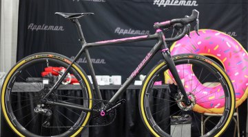 Matt Appleman's Pink Doughnut gravel bike was built for the show, but all of Appleman's frames are custom, including custom-made carbon tubes for each rider. NAHBS 2017. © C. Fegan-Kim Cyclocross Magazine