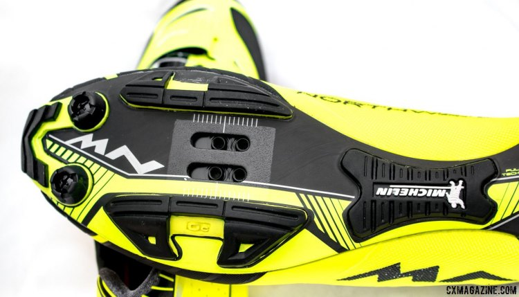 Northwave Extreme XC mountain bike shoes with Michelin sole and tread make precise cleat positioning easy. © Cyclocross Magazine