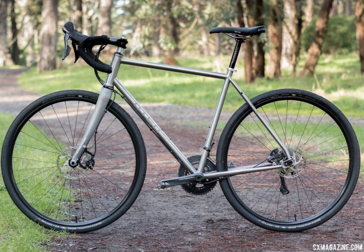 Otso Cycle Warakin stainless steel gravel/cyclocross bike with Otso Cycles' own fork is ready for any terrain, but feels most at home on dirt and gravel roads. © Cyclocross Magazine