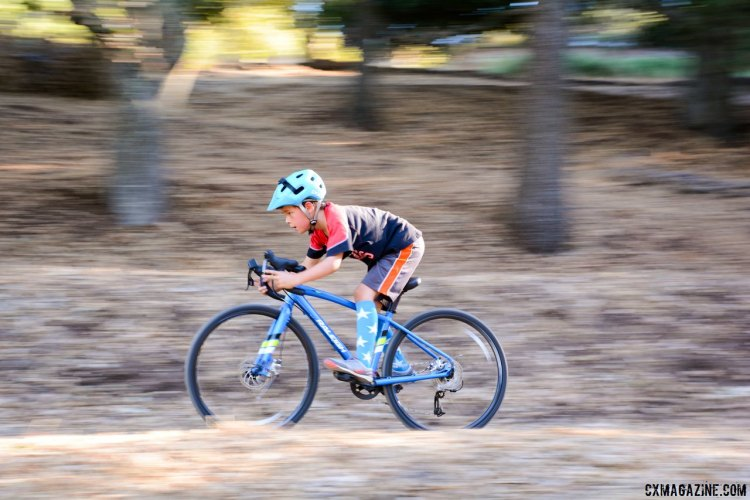 "Our young tester showing star form descending on the Raleigh RX24 24"" wheel kid's cyclocross bike. © P. Merridew / Cyclocross Magazine"