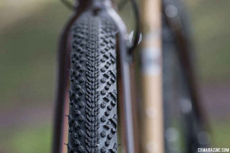 Versatile Clement MSO 50c tubeless tires will have you rolling smoothly on pavement and gravel roads, but when conditions are wet or technical, you'll want something more grippy for your radical stunts or riding. 2017 Raleigh Stuntman. © Cyclocross Magazine