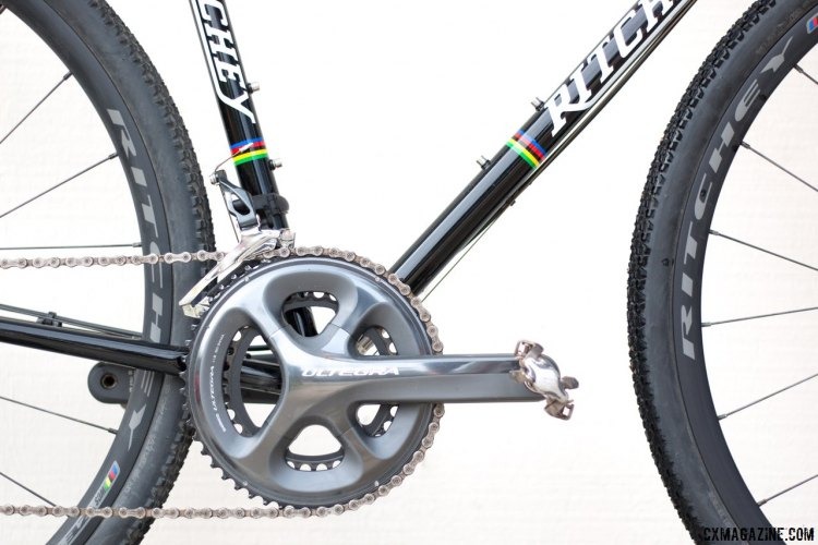 Shimano Ultegra compact cranks provide more climbing prowess to this steel rig. Ritchey Swiss Cross steel cyclocross bike. © Cyclocross Magazine