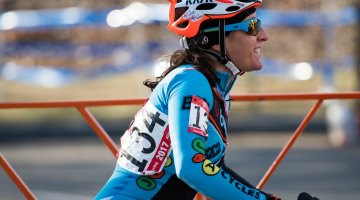 Sharon Sloan racing the Masters 40-44 women's race at the 2017 Cyclocross National Championships in Hartford. © Cyclocross Magazine