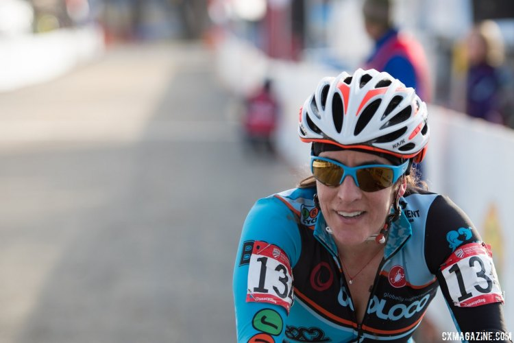 Sharon Sloan was lucky to have an unlucky race in Hartford, racing the Masters 40-44 women's race at the 2017 Cyclocross National Championships. © Cyclocross Magazine
