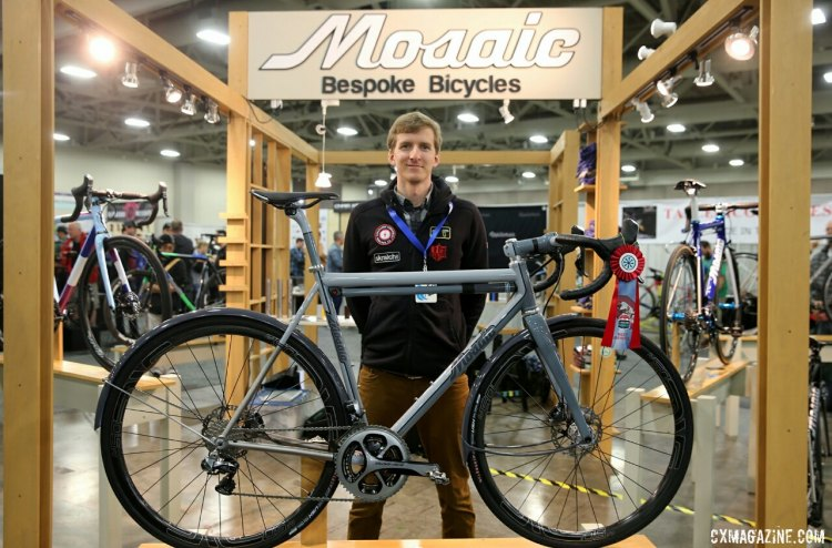 Jack Barcheck, with his brother's GT-1 Mosaic titanium gravel bike — Winner Best Gravel Bike. © C. Fegan-Kim Cyclocross Magazine