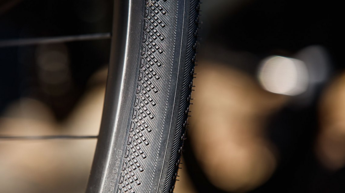 WTB's 32c Exposure TCS road/gravel tire is tubeless and gives road bike and older cyclocross bike owners a better chance for an Exposure tire that fits the frame or (long-reach) brake. © Cyclocross Magazine
