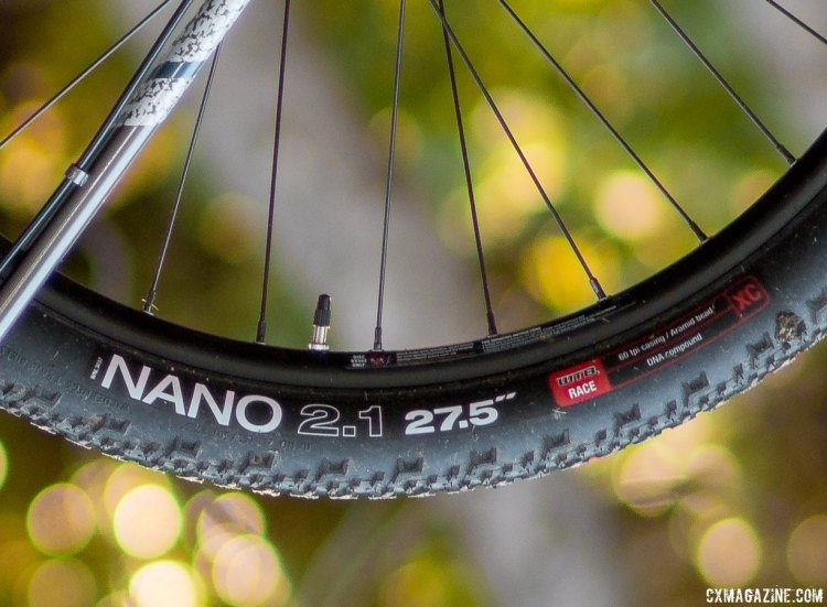 "Bombtrack Hook EXT cyclocross/gravel/adventure bike features WTB's versatile Nano Race tire in 27.5 x 2.1"" size. © Cyclocross Magazine"