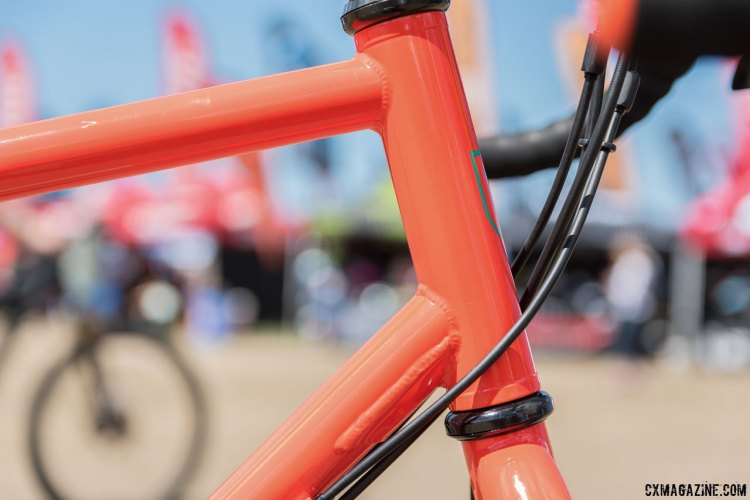 Breezer Radar adventure / touring bike pairs a straight steerer with a gusseted head tube / down tube junction. 2017 Sea Otter Classic. © C. Lee / Cyclocross Magazine