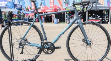 Breezer opts for shaped tubes and post-welding heat treating, and eschews forget flat mounts and gussets, citing ride quality reasons. Breezer Inversion gravel bike. 2017 Sea Otter Classic. © C. Lee / Cyclocross Magazine