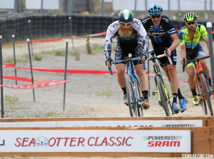Marion leading Decker and Richey in the race for third. 2017 Sea Otter Classic cyclocross race. © J. Silva / Cyclocross Magazine