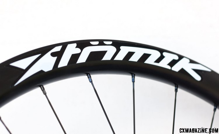 Atomik's carbon rims are sourced from Asia and have five color choices for the graphics. © Cyclocross Magazine