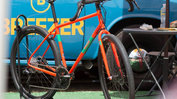 If you're aiming for adventure, Breezer wants this bike to be on your Radar. 5 bottle mounts, provisions for rack and fenders, plus clearance for 29 X 2.1 (700 X 52) tires (without fenders). All for a pittance. Breezer Radar adventure / touring bike. 2017 Sea Otter Classic. © C. Lee / Cyclocross Magazine