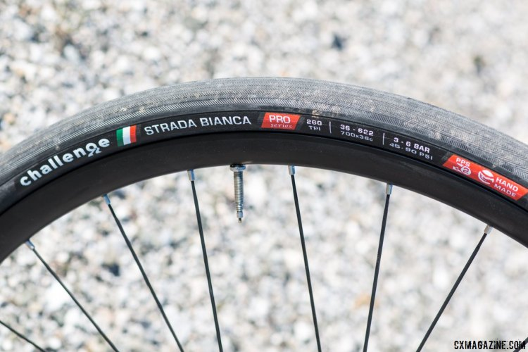 The Challenge Strada Bianca Pro now comes in a 36mm width, our preference over the 30c option or the 27c Paris Roubaix model. Tires for your own Hell of the North ride. © Cyclocross Magazine