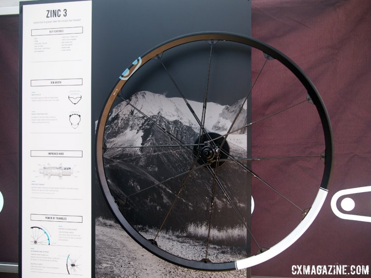 The all new Zinc 3 wheels from Crank Brothers use an alloy rim, have a weight of 1645 grams for the pair and are priced at $750. Sea Otter Classic 2017 © Cyclocross Magazine