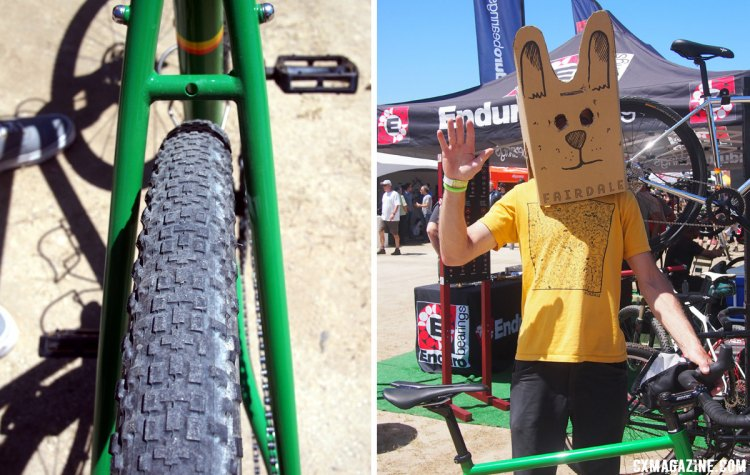 The rear end has plenty of tire clearance, shown here with a 40c tire fitted. Leif Valin models the Fairdale bunny head. 2017 Sea Otter Classic. © G. Kato / Cyclocross Magazine