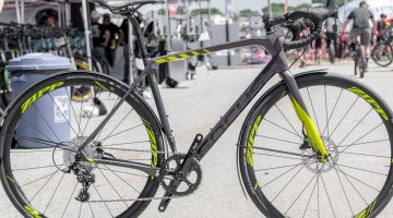 The SRAM Apex-equipped Focus Paralane Factory country road bike comes in just two sizes, and six build options. Surprisingly the SRAM Apex 1x model, at $3750, retails for $250 more than the Ultegra 2x option. © C. Lee / Cyclocross Magazine