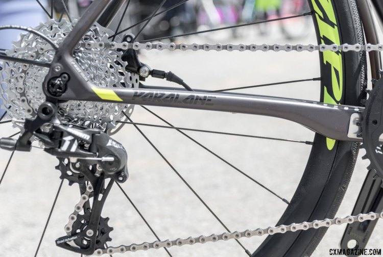 The SRAM Apex-equipped Focus Paralane Factory country road bike features dramatically shaped chainstays for compliance. © C. Lee / Cyclocross Magazine