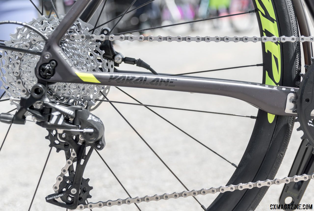 d278e622507 The SRAM Apex-equipped Focus Paralane Factory country road bike features  dramatically shaped chainstays for