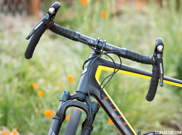 The 32 Step-Cast AX (Adventure Cross) suspension fork paired with an Easton EC70 AX flared bar. © Cyclocross Magazine