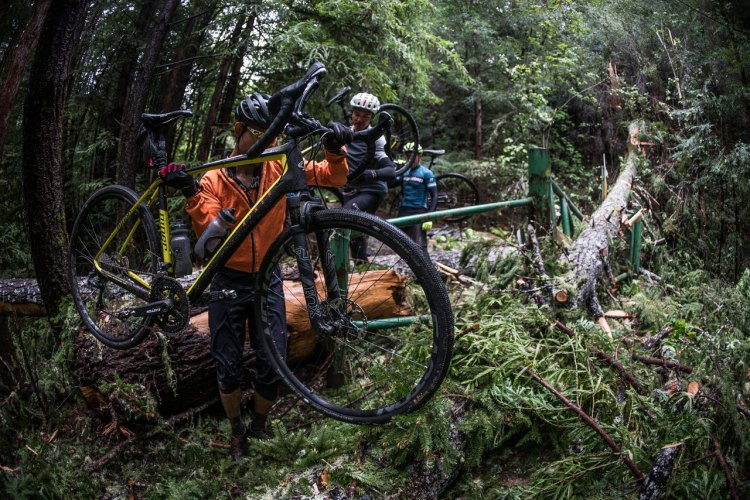 Mother Nature offered some unexpected adventure. Fox AX Adventure Cross Fork test ride. photo: Connor Macleod