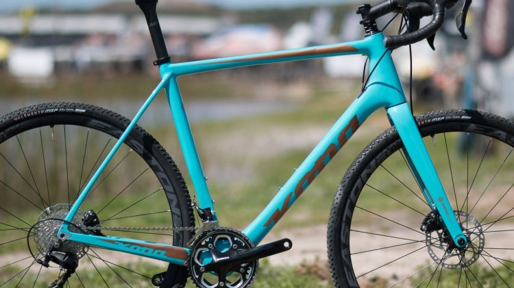 The new 2018 carbon Kona Major Jake cyclocross bike has gotten a bit lower, with BB drops from 68-72mm, and features generous head tube lengths. Pictured is a 56, which is closer to a 58 in most brands. Head angles are also said to be a bit slacker than previous models. 2017 Sea Otter Classic. © A. Yee / Cyclocross Magazine