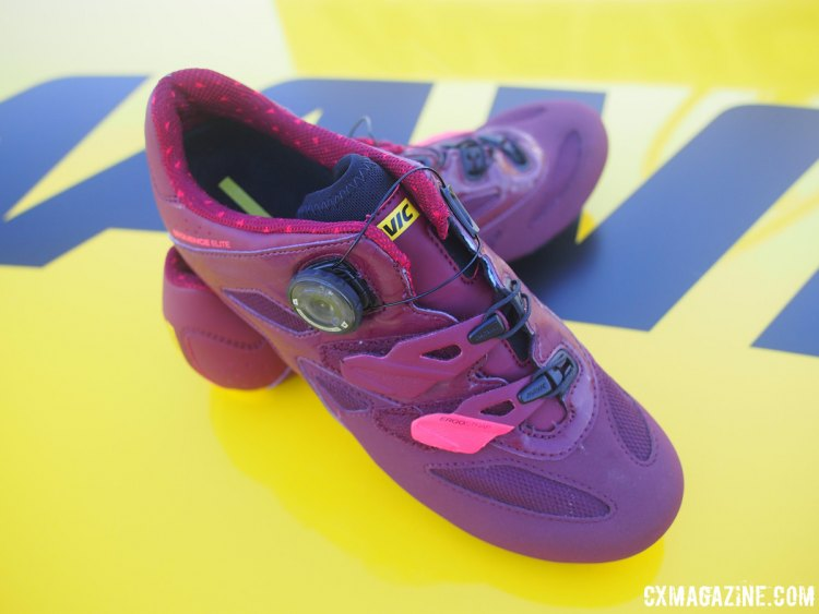 Mavic's Sequence Elite W shoe is designed for women with an emphasis on optimum fit and energy transfer. Shown in fig-hibiscus colors, this shoe would match well for those McTubbin fans out there. Sea Otter Classic 2017 © Cyclocross Magazine