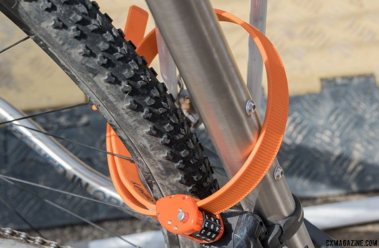 The steel and kevlar core OttoLock can be cinched tight for security. The lock combination is customizable. 2017 Sea Otter Classic. © C. Lee / Cyclocross Magazine