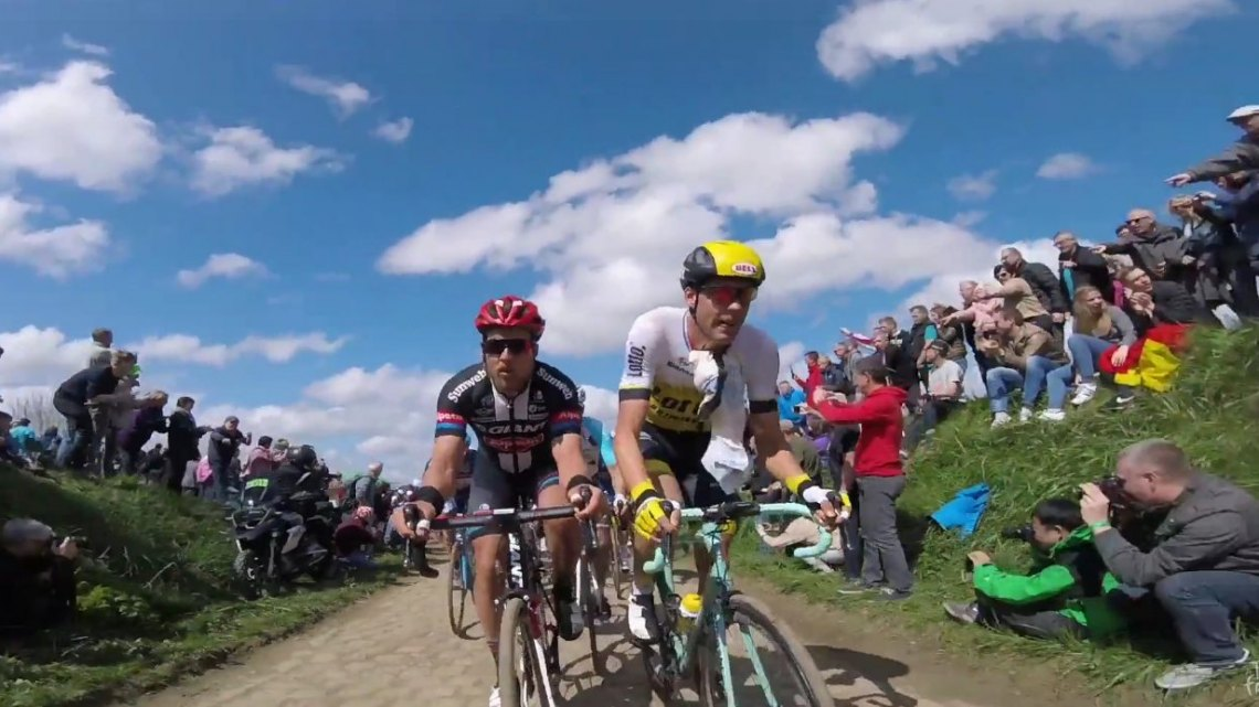 Screenshot of Paris Roubaix onboard footage by Le Tour de France