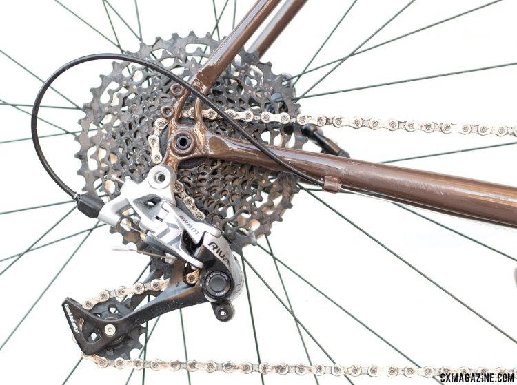 Rival 1 rear derailleur shifts through the Apex-level 11-42 cassette flawlessly, but the non-replaceable hanger bends easily. 2017 Raleigh Stuntman. © Cyclocross Magazine