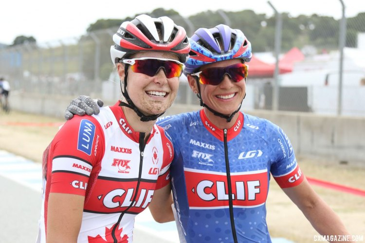 Nash (right) and Rochette (left) are all smiles after going 1-2. 2017 Sea Otter Classic cyclocross race. © J. Silva / Cyclocross Magazine