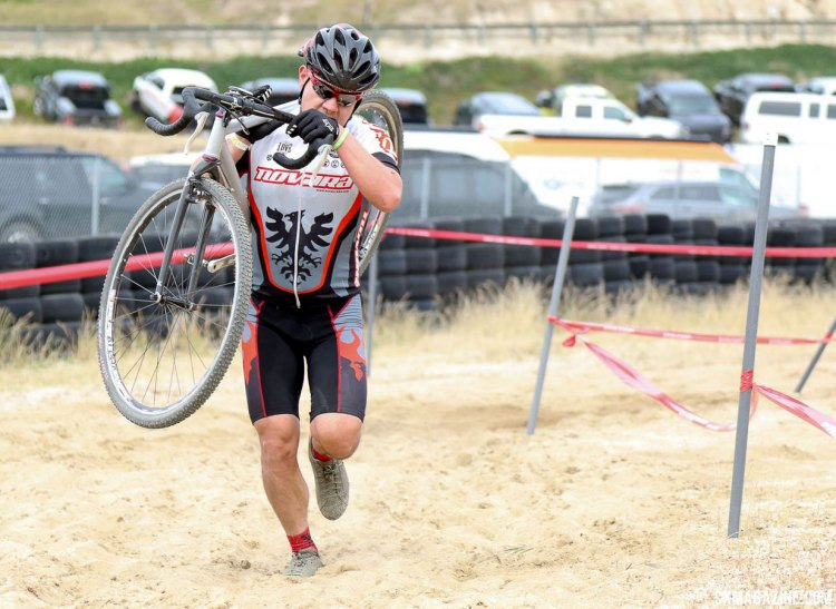 Francis Jose taking the safer route through the sand. 2017 Sea Otter Classic cyclocross race. © J. Silva / Cyclocross Magazine